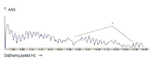 10.1 pav. Penkta juosta Garsas JIE. Spektrograma nevartojus alkoholio.
